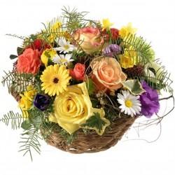 Corbeille de fleurs mélangées